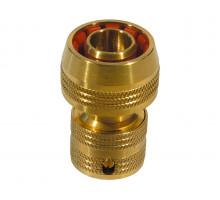 Конектор быстросем для шланга с клапаном латунь, 89101, Ф 16, FLO