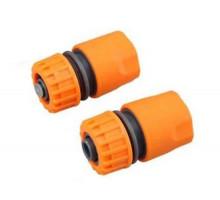 Конектор быстросем для шланга с клапаном пластик, Ф 16