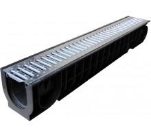 Лоток водоотводный ЛВ-10,14,10 пластиковый cо стальной решеткой