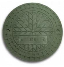 Люк полимерпесчанный для гофротрубы колодца 300 В (зеленый)