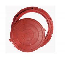 Люк полимерпесчаный круглый красный  для колодца до 1,5т