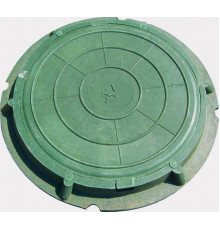 Люк полимерпесчаный круглый зеленый  для колодца до 1.5т
