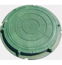Люк полимерпесчаный круглый зеленый  для колодца до 3т