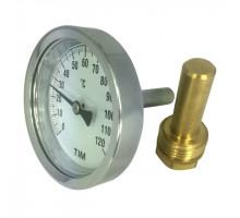 Термометр бимета. 63мм 120°C с погружной гильзой 50мм