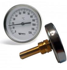 Термометр бимета, FR 801 (T) 63мм 120°c с погружной гильзой 5см, самоу