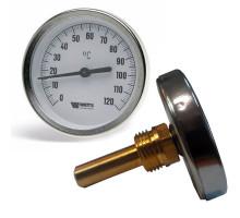 Термометр бимета. FR 801 (T) 80мм 120°c с погружной гильзой 75мм WATTS